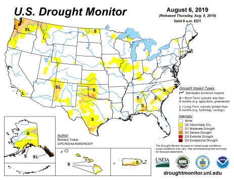 US Drought Monitor August 8, 2019.