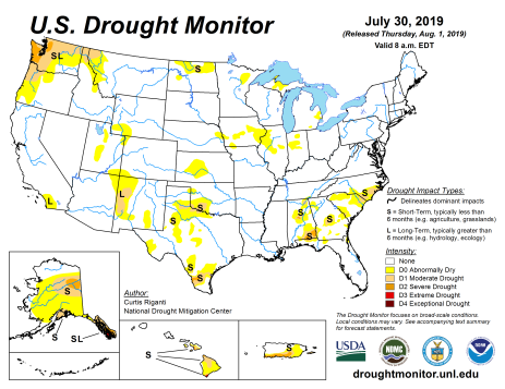 US Drought Monitor July 30, 3019.
