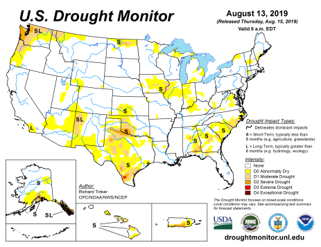 US Drought Monitor August 13, 2019.