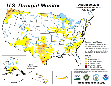 US Drought Monitor August 20, 2019.