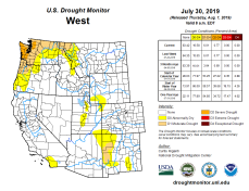 West Drought Monitor July 30, 3019.