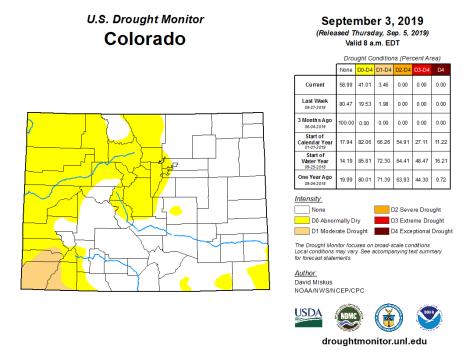 Colorado Drought Monitor September 3, 2019.