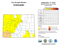 Colorado Drought Monitor September 17, 2019.