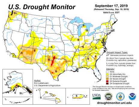 US Drought Monitor September 17, 2019.