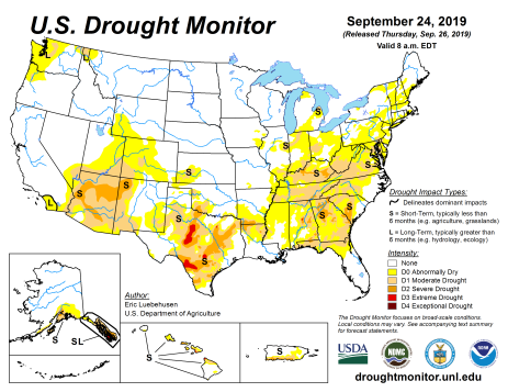 US Drought Monitor September 24, 2019.