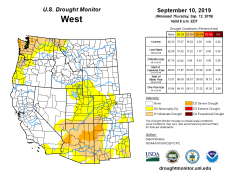West Drought Monitor September 10, 2019.