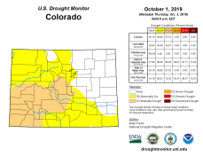 Colorado Drought Monitor October 1, 2019.