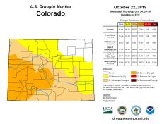 Colorado Drought Monitor October 22, 2019.