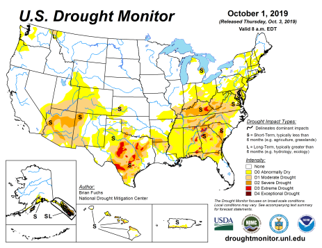 US Drought Monitor October 1, 2019.
