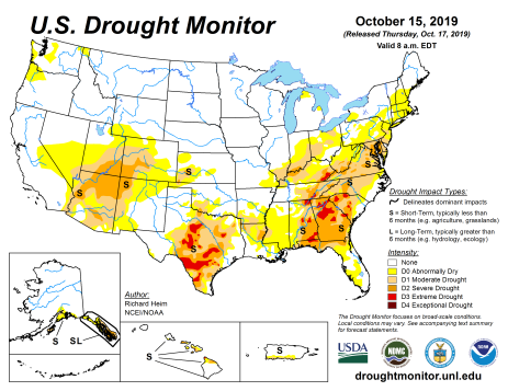 US Drought Monitor October 15, 2019.