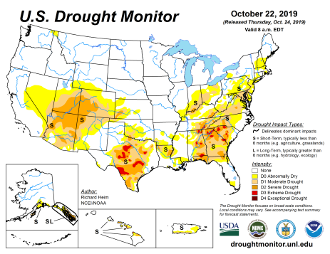 US Drought Monitor October 22, 2019.