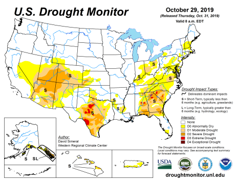 US Drought Monitor October 29, 2019.