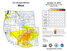 West Drought Monitor October 15, 2019.