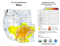 West Drought Monitor October 29, 2019.