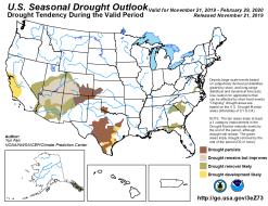 Seasonal drought outlook through February 29, 2020 via CPC.