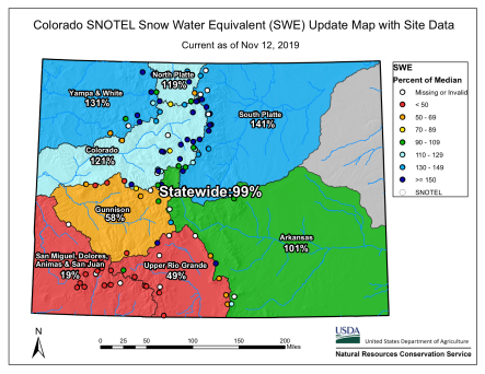 Statewide Colorado basin -filled snowpack map November 12, 2019.
