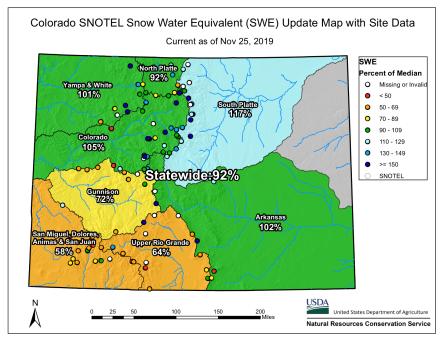 Colorado snowpack basin-filled map November 25, 2019 via the NRCS.