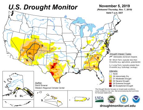 US Drought Monitor November 5, 2019.