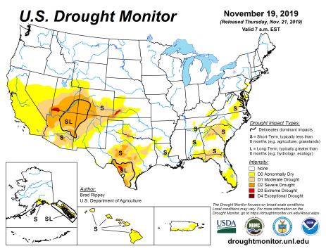 US Drought Monitor November 19, 2019.