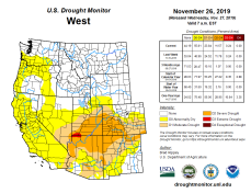 West Drought Monitor November 26, 2019.