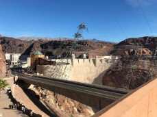 Face of Hoover Dam from the access highway.