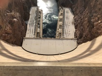 Looking down on the power plants from the top of Hoover Dam.