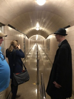Access tunnel inside Hoover Dam. Mark Cook, our host, on the right.