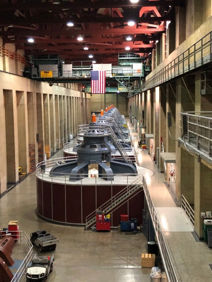 The Hoover Dam Arizona power plant turbines.