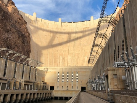 """Hoover Dam from the Arizona Powerhouse deck December 13, 2019. As John Fleck said in a Tweet, """"Friends who have the keys showed us around this afternoon."""" Thanks USBR."""
