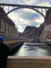 Highway bridge from the base of Hoover Dam.