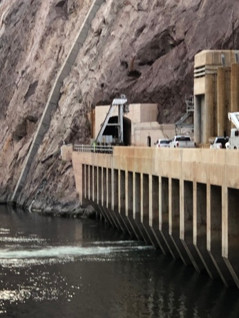 Terminus of the access road at Hoover Dam.