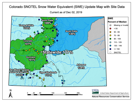 Statewide basin-filled snowpack map December 2, 2019 via the NRCS.