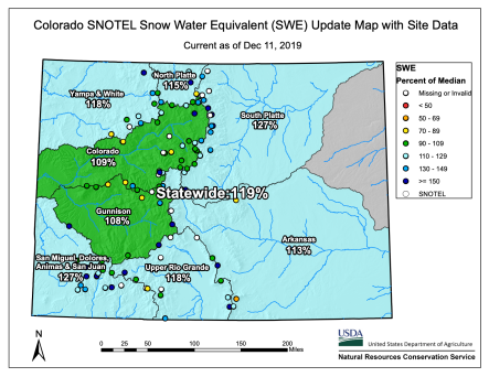 Colorado Statewide basin-filled map December 11, 2019 via the NRCS.