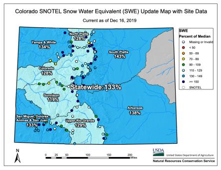 Colorado basin-filled snowpack map December 16, 2019 via the NRCS.