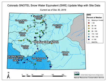 Colorado Statewide Snowpack basin-filled map December 30, 2019 via the NRCS.