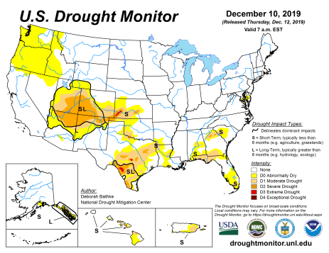 US Drought Monitor December 10, 2019.