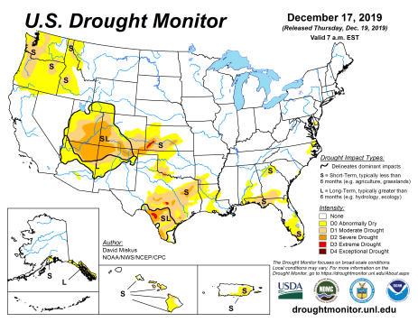 US Drought Monitor December 17, 2019.