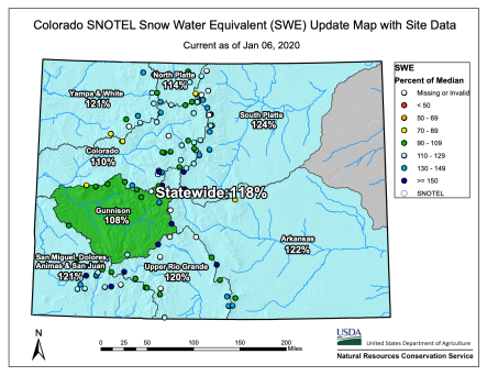 Statewide basin-filled snowpack map January 6, 2020 via the NRCS.