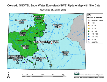 Colorado statewide snowpack basin-filled map January 21, 2020 via the NRCS.