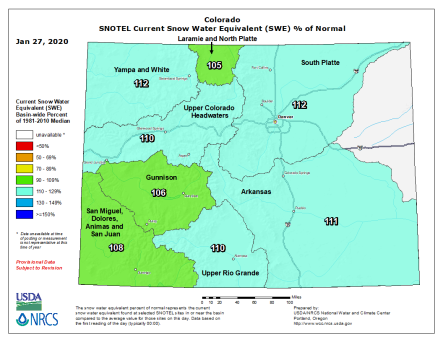Colorado snowpack basin-filled map January 27, 2020 via the NRCS.