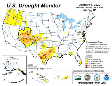 US Drought Monitor January 7, 2020.
