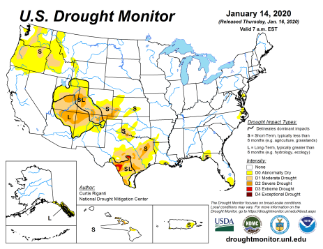 US Drought Monitor January 14, 2020.