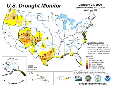 US Drought Monitor January 21, 2020.