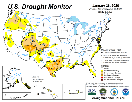 US Drought Monitor January 28, 2020.