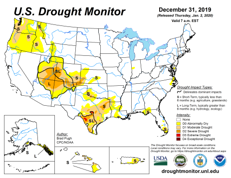 US Drought Monitor December 31, 2019.