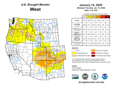 West Drought Monitor January 14, 2020.