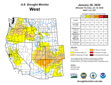 West Drought Monitor January 28, 2020.