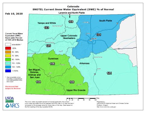 Statewide snowpack February 10, 2020 via the NRCS.