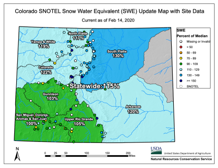 Colorado snowpack basin-filled map February 14, 2020 via the NRCS.