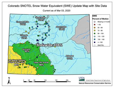 Colorado snowpack basin-filled map March 3, 2020 via the NRCS.
